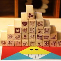 Wholesale 3 Sets Brand New Wooden Rubber Stamp Set Kinds DIY Love Diary Stamp Set FG17473