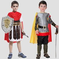 ancient roman soldiers - Newly Ancient Roman Warrior Costume Kids Halloween Cosplay Clothing Boys Roman Soldier Performance Dress SW0315