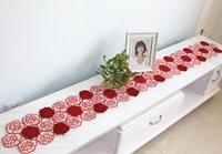bedding cloth satin - High grade embroidered table cloth hollow out bed table flag flag TV ark table cloth art satin european style luxury red roses