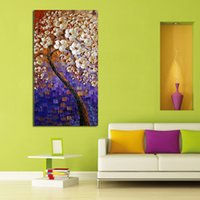best white spray paint - 100 Handpainted Abstract White Flower Tree Knife Oil Painting On Canvas Thick For Home Decor As Best Gift