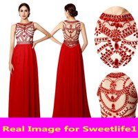 art deco jewels - SD238RD In Stock Red Long Chiffon Prom Dresses Shining Crystal Sheer Jewel Neck Pleats Formal Evening Dresses Cheap Party Dresses