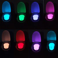 Wholesale DHL Toilet Night Light Toilet Bowl LED Night Lights with Motion Sensor Color Changing LED Night Lamp Best Christmas Gifts