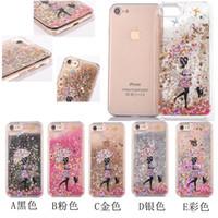apple umbrella - Iphone6 plus plus Liquid glitter case quicksand case for Samsung S5 S6 S6edge S7 S7edge Umbrella Girl printing shining cover case