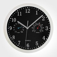 Wholesale 12 inch thermometer and hygrometer wall clock with black color high quality price wall clock on sale for
