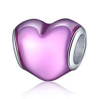 bangles enamel - Sterling Silver Enamel Hearts European Charm Beads Fit Pandora Style Bracelet Bangle Necklace Pendant DIY Original Jewelry