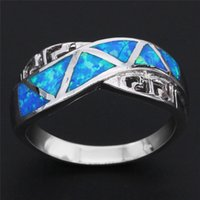 Wholesale New Fashion Blue Opal Silver Plated Ring for Women Semi Precious Opal Stone Fine Jewelry Finger Ring Gift OR039