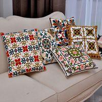 Wholesale 5 styles Color Geometric sofa Cushion Covers Linen Cotton Rainbow Stripe Dot Pillow Cases X45cm Pillow Cover Decoration gift
