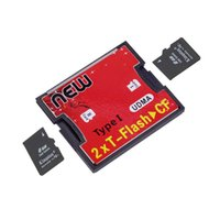 Wholesale 2 Ports TF SDHC to Type I Compact Flash Card CF Reader Adapter Wholelsae