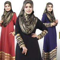 Wholesale Dubai Abaya Muslims Middle East Arab Robes Clothing Women Dress Gold Print Adult Caftan Retail Acceptable