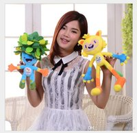 Wholesale 2016 Rio de Janeir Brazil Olympic Mascots Vinicius and Tom Expositions Paralympic Games Cartoon Stuffed Animal Plush Baby Children Gift cm