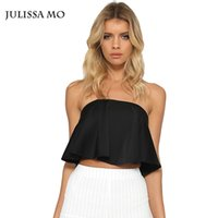 Wholesale Women Crop Top For Summer Sexy Off Shoulder Flouncing Ruffles Cropped Brandy Melville Tops Strapless Tank Tops For Women