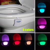 Wholesale Battery Operated LED Motion Sensor Toilet Night Light colors in one device Bathroom Lamp Original lightbowl DHL