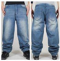 american ads - HOT Fashion New Man loose jeans hiphop skateboard jeans baggy pants denim pants hip hop men ad rap jeans big size