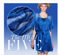 Wholesale 2016 fashion new Big promotion100 silk chiffon fabric blue Wrinkle mulberry silk fabrics
