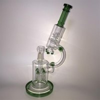 Wholesale Green Color Microscope mm Bong Four Arm Trees Inline Perc Smoking Water Hookahs With Dome and Nial Oil Rigs Glass Bongs