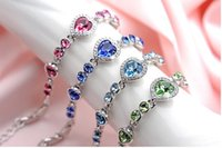 beuty gifts - Beuty Love Heart Crystal Bracelet New Brand Fasion Jewelry Pink Blue Green Bracelet Fasion Jewelry Sweet Jewelry