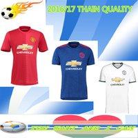 Wholesale THAI MU RED WHITE BLUE home jersey Ronaldo Soccer jersey IBRAHIMOVIC PLGBA ROONEY DE GEA football shirts Camisa jersey