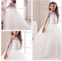 Wholesale 2016 Princess Illusion Long Sleeves Flower Girls Dresses Lace Appliqued Bow Sash Ball Gown Kids Formal Wear Girls Pageant Dresses