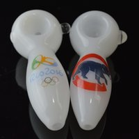 Wholesale Custom Logo White Spoon Pipes quot inch CUBS Olympic Logo Hand Glass Smoking Pipes Baseball Football Team Oil Burner Glass Pipes Tobacco Pipe