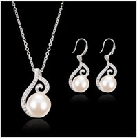 Wholesale Bridal diamond pearl necklace jewelry suit Europe and the United States party dresses earrings adorn article