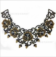 Wholesale Black Flower Lace Floral Collar Neckline Venise Applique Embroidery Sewing on Patches Scrapbooking Embossed