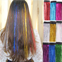 Wholesale 18 quot straight one piece clip in bling festival synthetic hair extensions colorful sparkle glitter twinkle masquerade decoration
