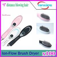 Wholesale 100pcs Newest ShowCharm Ion Flow Brush Dryer with LCD Display Electric Hair Dryer Blow Brush Hair Styling Tools Pink YX GF