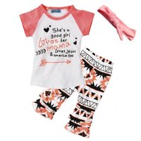 arrow brand clothing - girls clothing set boutique she s a good girl letter arrow t shirts pants headband baby clothes summer toddler girl clothing sets