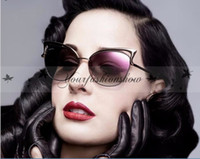 Wholesale Sexy Mixed Big Woman - Vintage Women Cat Eye Sunglasses Hollow Sunglasses Sexy Celebrity Female Fashion Shades UV400 Mirror Retro Style Cateye Big Sun Glasses M84