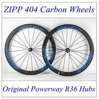 Wholesale Zipp Carbon Wheels Road Bikes Cycling C Wheelset K Weave mm Width mm Bicycle Wheel Clincher With Powerway R36 Hubs