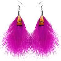Wholesale Feather Earrings Colors Cute Charm Elegant Light Dangle Eardrop Hot New White Black Teal Orange Yellow Green Blue JF098