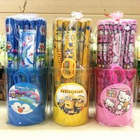 Cartoon Frozen Pony Set Papelería Estudiantes 50 lápiz de madera niños regalo con la regla de la regla de contenedor de pluma Venta al por mayor