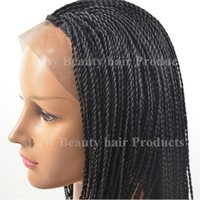 Wholesale African American Kinky Twist braiding long black lace wig heat resistant synthetic lace front wig full Micro braided wig for women