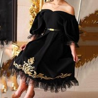 Wholesale New Arrival Sexy Arab Style Puffy Half Sleeve Bateau Neckline Black Party Evening Dress Cheap Embroidery Prom Pageant Dress
