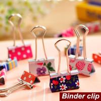 Wholesale 48 Flower Pattern Metal Binder Clips Pasta Color Escolar Stationary kawaii zakka Office Material School Supplies
