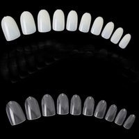 Wholesale 600Pcs Clear and Natural French False Acrylic Full Oval Shaped Nail Art UV Gel Tips short size fake nail tips