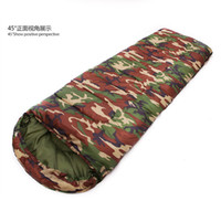 Wholesale Camouflage Camping sleeping bag season Cotton filling envelope style army hooded Military sleeping bags fishing