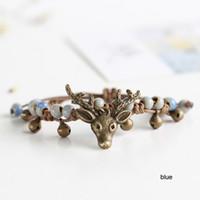 artistic bracelet - Deer Handmade original design woven string ceramic beads bracelet Creative artistic accessory