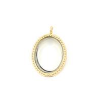 Wholesale 10pcs Gold Oval Alloy Floating Locket Pendant With Fake Rhinestone Floating Glass Locket Pendant SHUY1251