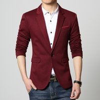 big mens blazers - Mens casual blazer Knitted slim fit coat Male clothing Spring Autumn Red blue Grey black big size XL Blaser Masculino Drop ship
