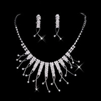 Wholesale Silver 925 Necklaces For Bridal - 2016 Cheap In Stock Unique Wedding Bridal Bridesmaids Rhinestone Necklace Earrings Jewelry Sets For Prom Party 15021 Free Shipping