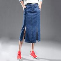 Nueva llegada de las mujeres falda de mezclilla Saias Jeans Girls bolsillos A-Line Slim Midi Jean faldas más tamaño de faldas de las mujeres tamaño XS-5XL XA0309