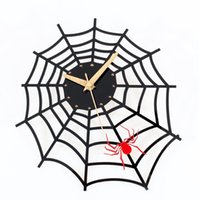 Wholesale 1pcs Fashion Creative Acrylic Black Spider Man Spider web DIY Wall Clocks Queit Clock Home Decor Art inch