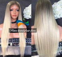 Wholesale Dark Roots Glueless Silk Top Ombre Blonde Full Lace Wigs Baby Hair Density Brazilian Hair Blonde Ombre Lace Front Wigs