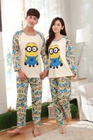 animal pajama pants - HJ cosplay Couple silk Pajama Sets Long Sleeve Sleepwear Mens amp Womens Minions Top Pants