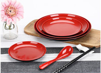 Wholesale Melamine Dinner Plate Dishes Red and Black Unbreakable NEW