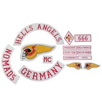 badge jacket - Badge HELLS ANGELS Motorcycle Original Embroidery twill Biker Patches for Jacket Back Full Size Set DIY Set