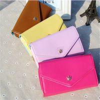 Wholesale Crown Pouch Flip - 2016 Envelope wallet PU Leather Flip Crown Smart card Pouch Cover case mobile phone bag for iphone 5 5s se 6 7 samsung s4 s5 hot sale