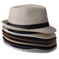 Wholesale Fashion Unisex Summer Straw Men s Fedora Sun Hats Trilby Gangster Cap Sunhat Beach Sun Straw Panama Hat with Ribbow Band