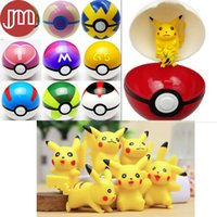 baby doll cosplay - New Pikachu Figure Toys with Pokeball Cosplay Pop up Poke BALL Shell Collection Baby Dolls Kids Gift Brinquedos